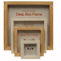 Innova Natural Wood Deep Box Picture Frames - 3x3, 6x6, 8x8, 12x12