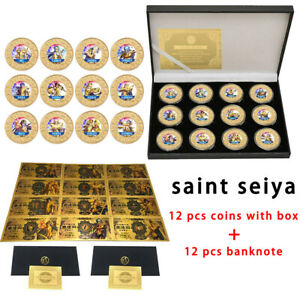 Japan Anime 12 pcs Saint Seiya Gold Banknote with 12 pcs Gold Plated Coin in box
