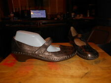 Woman's Easy Spirit Bronze Brown Leather Mary Jane Flat Shoes Sz 10