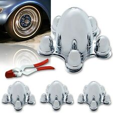 """5"""" on 5"""" Spider Steel Chrome Hubcaps Wheel Covers w/ Lug Nut Puller Set of 4"""