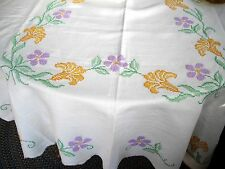 "Vintage Linen Table Cloth w/ Purple & Orange Cross-Stitched Flowers ~ 54"" x 72"""