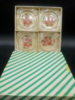 4 Vintage 1950's Glass Christmas Holiday Ashtrays w/Box Pink Poinsettias Holiday