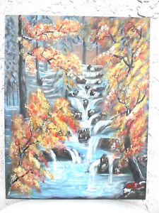 Original Acrylic Painting14x18 Canvas Panel, Autum Fall Leaves Wall Art