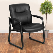 Big Amp Tall 500 Lb Rated Leather Executive Side Reception Chair With Clean Li