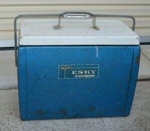 * Vintage Blue Malleys Esky Portable Cooler 43cm x 23cm x 34cm