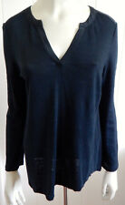 Trenery (Country Road) stylish black linen blend silk trim top size 8 - 10 (XS)