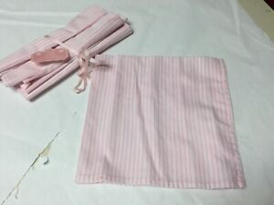 Crowing Touch Pink Cotton Stripe Napkins Set Of 4 New
