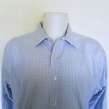 Brooks Brothers Classic Supima Cotton Button Down Blue White Plaid Size 17 33