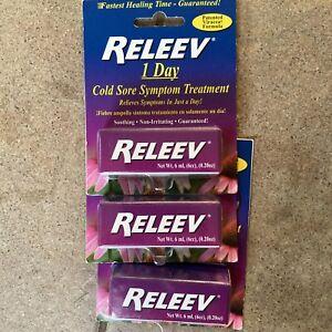 (3) Releev 1 Day Cold Sore Symptom Treatment 1ml Viracea Formula Exp 2022 NEW