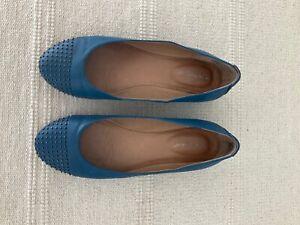 HUSH PUPPIES ANNABELLE BLUE Size 7.5 Flat Leather Ladies Shoes EC