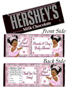 12 Ethnic Afro Princess Baby Shower Birthday Hershey Candy Bar Wrappers Silver