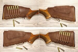 New Brown ButtStock Cover Rifle Ammo Holder Cheek Rest Padded - Real Leather