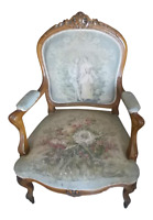 Antique Walnut French  Chair Original Tapestry Light Wood Fabric 1800-1899