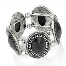 Stunning wide elasticated silver tone and jet black bead bracelet