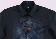 Men's HUGO BOSS Black Blue Geometric Shirt S Small NWT NEW $195+ Slim Fit NEMOS