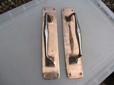 Antique Brass Door Handles Pulls Set Finger Push Chrome-Copper Plate Art deco