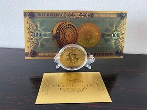 Bitcoin Münzen + BTC Gold Banknote Krypto Geldschein Schein Karat