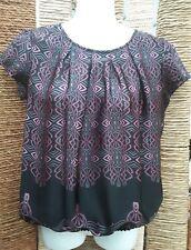 MEXX Ladies Short Sleeve Grey, Black & Pink Blouse Top Size
