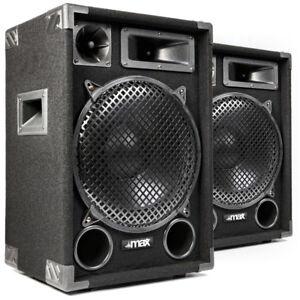 PA Speakers Passive Hi Fi Loudspeakers 3-Way 12 Inch Subwoofer Pair Disco 1400W