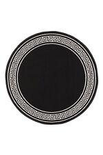 Tapis rond 160 cm Ø noir blanc circonférentiel bordure Tapis modernes