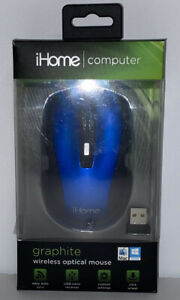 iHome Graphite Wireless Optical Mouse, Blue/ Black trim, New, FREE SHIPPING