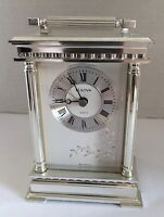 Bulova B-1349 Quartz Mantle Carriage Clock Silver Tone West Germany