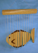 Fish windchime, bamboo wood hand carved, window, ceiling ornament, garden mobile
