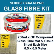CAR BODY REPAIR FIBRE GLASS KIT 250ml RESIN FIBRE GLASS MAT SURFACE TISSUE