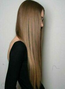 100% Human Hair Natural Long Straight Light Brown Fashion Women's Wig