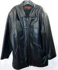 MADDOX MEN SIZE L 54  BLACK LEATHER JACKET COAT ZIPPER QUILTED LINER