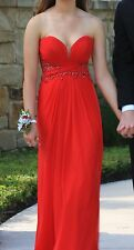 LA FEMME Red Beaded Sequin Prom Formal Gown Pageant Dress Size 2 -Only Worn Once