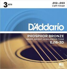 D'Addario EJ16-3D Phosphor Bronze Acoustic Guitar Strings (3 Set Pack)