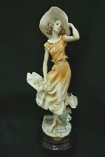 Giuseppe Armani Figurine April Lady In Orange Dress #0121C New Condition