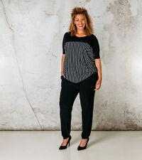 Gestreifte Übergröße-Taillenlang Damenblusen,-Tops & -Shirts für Freizeit