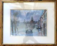 Belle aquarelle GUY LAMY (1914-2000) Innondations à la FRETTE sur Seine 1965