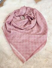 Authentic GUCCI  scarf shawl GG Guccissima 140x140 cm wool silk BNWT Light Pink