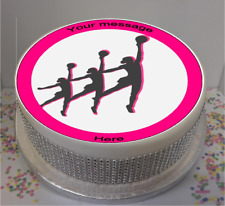 """Novelty Personalised Netball Silhouettes 7.5"""" Edible Icing Cake Topper birthday"""