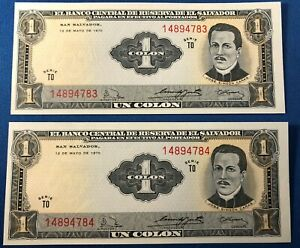 Two 1972 El Salvador One Colon Banknotes ~ Sequenced Serial Numbers