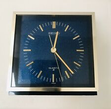 SEIKO MCM Square Blue Metallic Analogue Quartz Battery Desk Clock 4.5""