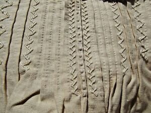 Antique French Dress Ecru Linen shift Handmade lace embroidery featherstitch