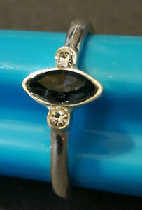 BLUE AND DIAMOND LOOKING METAL RING SIZE L
