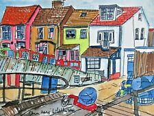 Authentic Original Watercolour Painting Sheringham Cottages View North Norfolk