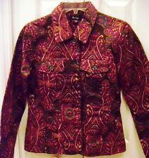 ANALOGY Small Paisley Red Fall Jacket-Pockets-Long Sleeves
