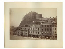 Vintage Albumen Photograph, Edinburgh Castle from Grass Market, James Valentine