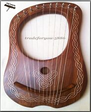 Irish Tuneable Lyre Harp 10-Metal Strings with Tuning Key wood Natural