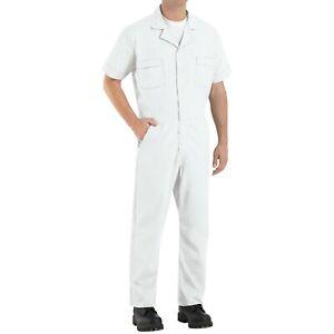 Red Kap Speedsuit White Short Sleeve  Men's Zip-Front Work Coverall Action Back