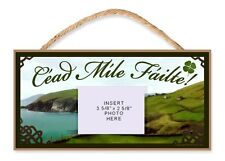 Irish Welcome Sign/Plaque Céad Míle Fáilte with Clear Photo Pocket Insert