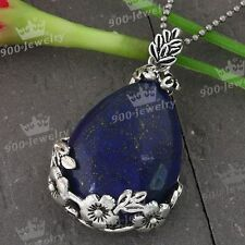 1x Lapis Lazuli Gemstone Gem Stone Bead Teardrop Pendant For Necklace Chain Gift