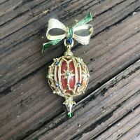 Vintage Christmas Ornament Enamel Brooch Red Green Bow Holiday Gold Pin Jewelry