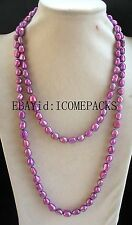 """freshwater pearl deep purple 8-10mm baroque necklace 43"""" nature wholesale bead"""